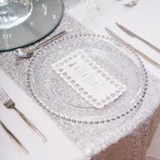 silver beaded glass charger plates beyond expectations weddings