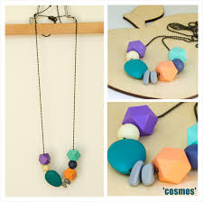 resin beaded necklace images Necklace fine ball chain hexagon wooden resin beads in pale jpg