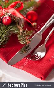 red themed christmas place setting photo