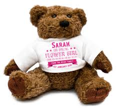 engraved teddy bears personalized flower girl wedding teddy gift thank you