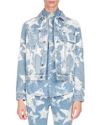 Light Denim Jacket Givenchy Bleached Stars Denim Jacket Light Blue