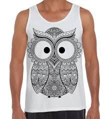 cross eyed owl large print men u0027s vest tank top funny owls design