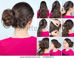 step bu step coil hairstyles hairstyle twisted bun one side braid stock photo 523882843