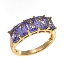 tanzanite stones rings images 14k yellow gold 2 75ctw blue tanzanite emerald cut 5 stone ring jpg