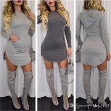 2018 womens hooded bodycon dress long sleeve front pocket
