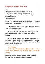 t d id past tense endings pronunciation lesson plan with