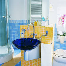 interior classy bathroom decoration with blue glass sink combine
