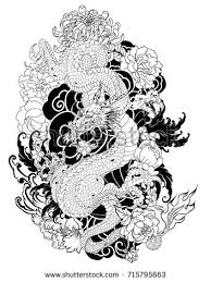 hand drawn dragon tattoo coloring book stock vector 663449044