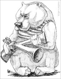 caricature of a scary bear with a hunting gun
