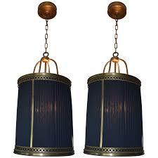 Fabric Pendant Light by Viyet Designer Furniture Lighting Baker Pair Of Satin Brass