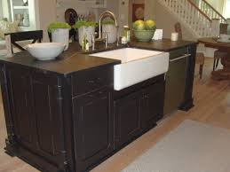 White Kitchen Cabinets With Black Island by Decorating Antique Kitchen Island With White Apron Front Sink And