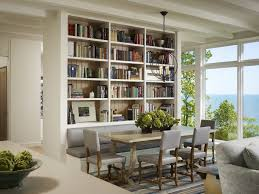 bookshelves in dining room dining room bench seating dining room transitional with built in