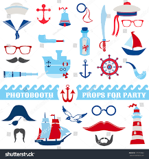 nautical party set photobooth props glasses stock vector 170773382