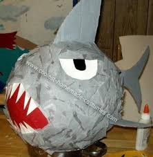 my homemade shark pinata my son decided he wanted to have an