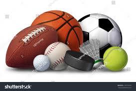 sports equipment football basketball baseball soccer stock