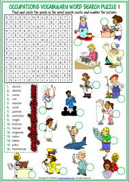 jobs occupations professions esl printable word search puzzle