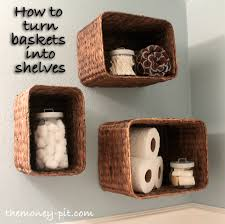 Wicker Bathroom Wall Shelves Turning Baskets Into Shelves The Six Fix