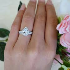 teardrop engagement rings 1 5 ctw classic pear halo engagement ring wedding set made