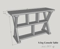 x leg console table with shelves buildsomething com