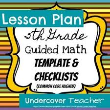 5th grade guided math lesson plan template editable guided