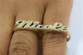 Two Finger Name Ring 10k Personalized Gold Two Finger Name Rings A5 Nikfine