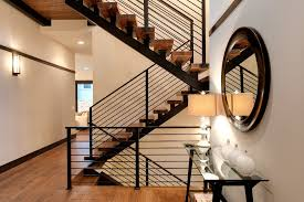 Metal Stair Banister Metal Stair Railing Staircase Contemporary With Brown Wall Carpet