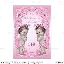 Party Invite Cards Pink Vintage Princess Twins 1st Birthday 5x7 Paper Invitation Card