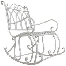 Metal Rocking Patio Chairs Titan Outdoor Antique Rocking Chair White Porch Patio Garden Seat