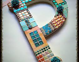 Monogram Letters Home Decor Mosaic Letters Etsy