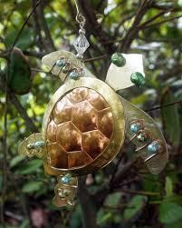 tri color metal turtle ornament loggerhead
