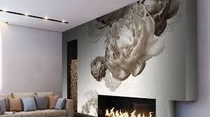 coussins originaux canapé murs papier peint intissé gris clair fleurs canapé beige coussins