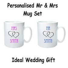 wedding gift mugs personalised mr mrs mug set wedding gift