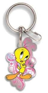 amazon looney tunes tweety bird happy pink enamel key