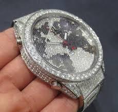 World Map Watch Jc 47 World Map Black U0026 White Diamond Watch