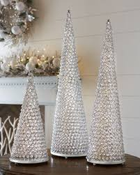 crystal cone trees with plates at neiman marcus white christmas