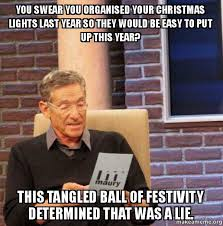 Last Christmas Meme - you swear you organised your christmas lights last year so they