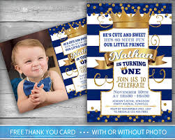 Birthday Invitation Cards For Kids First Birthday Prince Invitation Little Prince First Birthday Number One