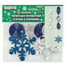 Blue Snowflakes Decorations 45cm Foil Hanging Swirl Snowflake Christmas Decorations Pack Of 4