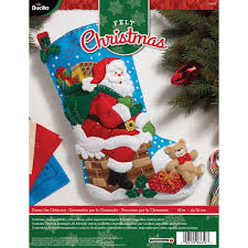 bucilla seasonal felt stocking kits down the chimney