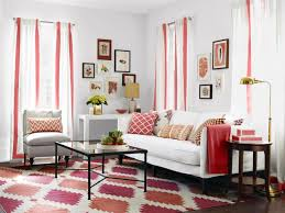 appealing white and red living room interior themes with white