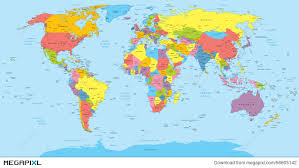 world map political with country names free world map with countries country and city names illustration