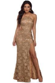 andrea gold sequin prom dress