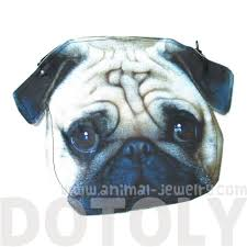 pug puppy dog head shaped vinyl animal photo print clutch bag dotoly
