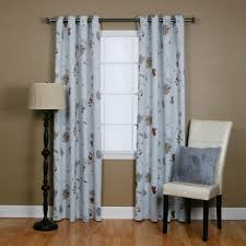 Blue And Brown Curtains Flower Printed Grommet Curtain Brown