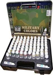 military paint set plastic storage case 72 colors u0026 brushes