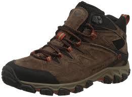 merrell men u0027s serraton mid waterproof high rise hiking boots brown