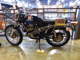 vintage siege oldmotodude harley davidson aermacchi tx125 on display at the