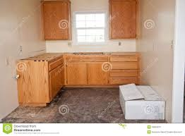 kitchen cabinets without countertop royalty free stock image