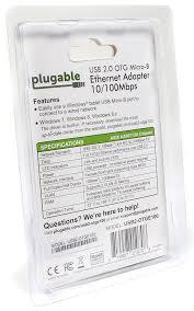 amazon com plugable usb 2 0 otg micro b to 10 100 fast ethernet