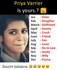 Daughter In Law Memes - priya varrier is yours jan sister feb daughter march girlfriend